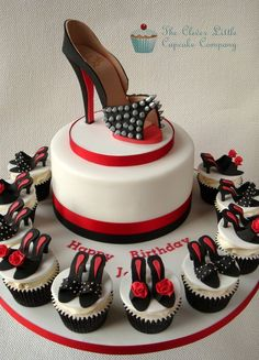 Louboutin Shoe Cake with Matching Cupcakes (not sure if this should be pinned under Yum or SHOES! lol)