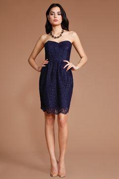 Shoshanna Parisian Lace Mimi Dress in Navy