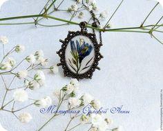 """Купить Кулон с сухоцветами """"Колокольчик"""" - синий, ювелирная смола, ювелирная смола украшения, бижутерия из смолы"""