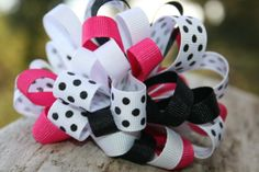 Pink black white and polka dot handmade by RockabillyBabyPlace, $4.00