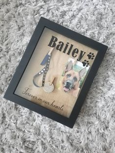 Custom Pet Memorial Shadow Box with Name, Dog or Cat Memorial Box, Pet Loss Memory Box with Three Areas for Picture, Collar, Etc - Pet Memorials & Pet Memorial Gifts Pet Memorial Frames, Pet Memorial Gifts, Cat Memorial, Memorial Ideas, Memorial Quotes, Memories Box, Dog Shadow Box, Shadow Box Memory, Newborn Shadow Box