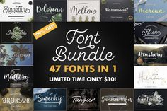 ***********This product is on sale at the time of this posting.************* 47 IN 1 FONT BUNDLE Included 47 typefaces including 27 fonts This fonts are ideal Creative Fonts, Cool Fonts, New Fonts, Simple Fonts, Creative Art, Handwritten Fonts, Typography Fonts, Lettering, Cursive Fonts