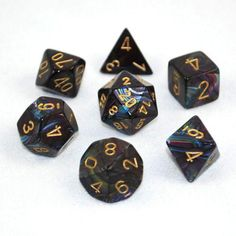 Set of 7 Chessex Lustrous Shadow/gold RPG Dice