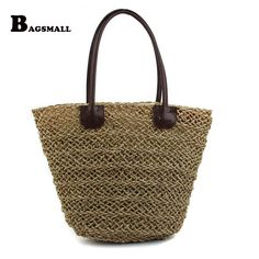 BAGSMALL Brand New Arrival Summer Holiday Woven Beach Bag Knitted Straw Bag For Travel Large Shoulder Handbag Women Tote Bag