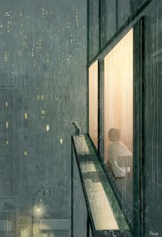 Pascal Campion — Hopper's cat. I was just sketching randomly and. Anime Scenery Wallpaper, Wallpaper Backgrounds, Aesthetic Art, Aesthetic Anime, Pascal Campion, City Art, Aesthetic Wallpapers, Amazing Art, Concept Art