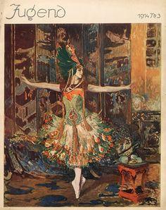 Issue of Jugend featuring Jacques Emile Blanche's portrait of Tamara Karsavina as l'oiseau de feu (The Firebird), 1914