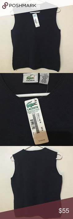 LACOSTE TOP Navy Blue sleeveless Lacoste top size M 80% cotton 20 % spandex. BNWT! Lacoste Tops