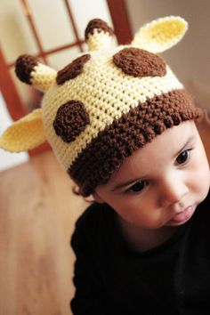 0 to 3 Newborn Baby Giraffe Hat  Zoo Animal Hat  by BabaMoon, $25.00.  My child WILL have this someday.  Maybe I can find someone to make it for me? :)