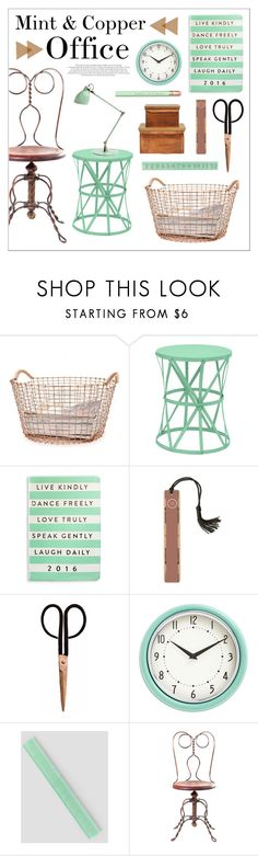 """""""Mint & Copper Office"""" by lgb321 ❤ liked on Polyvore featuring interior, interiors, interior design, home, home decor, interior decorating, Korbo, Three Hands, Eccolo and Holly's House"""