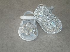 Baby Girls BLING Shoes Flower Sandals with Swarovski.