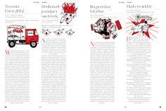 illustration: Tymoteusz Mierzwa #magazine #layout #design Layout Design, Print Design, Graphic Design, Design Inspiration, Design Ideas, Exhibit Design, Magazines, Editorial, Big