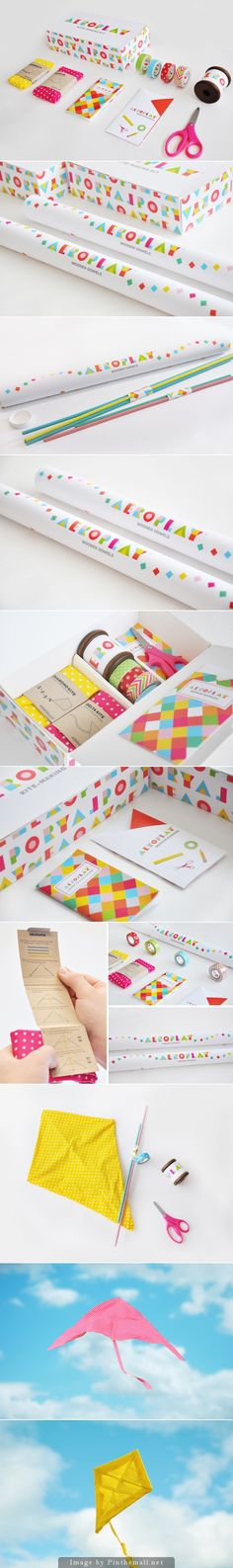 Aeroplay Kites Packaging design. Bright and fun colors are always a plus :)