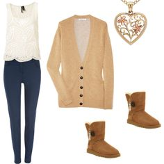 """camel love"" by cutegirl48 on Polyvore  camel cardigan beige tank blue jeggings heart necklace with uggs chestnut"