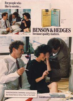 Retro Ads, Vintage Advertisements, Vintage Ads, Famous Ads, Benson & Hedges, Vintage Cigarette Ads, Smoking Ladies, The Past, Advertising