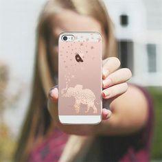 Rose gold iphone SE . Cute see through elaphant case