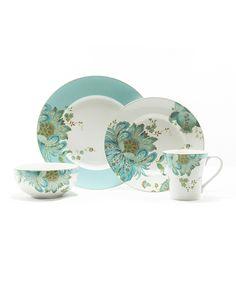 Eliza Spring Blue 16-Piece Dinnerware Set