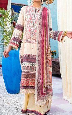 Off-white Lawn Suit   Buy Rang Rasiya Pakistani Dresses and Clothing online in USA, UK
