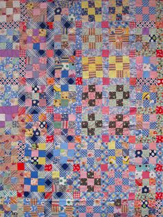 vintage Scrappy 9-Patch quilt close up. easier to see the sashing and posts