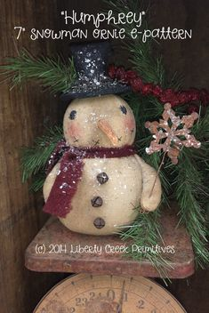 instant download primitive snowman ornie epattern - Primitive Christmas Crafts
