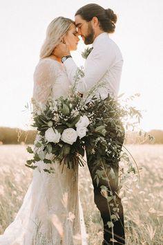 Wedding Bouquets Modern greenery wedding inspiration with cascading white rose and foliage bouquet Modern Wedding Flowers, Wedding Flower Arrangements, Bridal Flowers, Wedding Bouquets, Wedding Dresses, Trendy Wedding, Blue Wedding, Wedding Hair, Burgundy Wedding