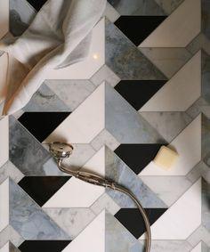 Floor Patterns, Tile Patterns, Dream Bathrooms, Beautiful Bathrooms, Bathroom Inspiration, Interior Inspiration, Dental Reception, Miami Beach Hotels, Tiled Hallway
