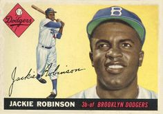 1955 Topps # 50 FUL Jackie Robinson Brooklyn Dodgers (Baseball Card) (Sharp Left Corner on Red Diamond on Front) Dean's Cards 1 - POOR Dodgers Baseball Posters, Baseball Art, Dodgers Baseball, Sports Baseball, Rare Baseball Cards, Football Cards, Jackie Robinson, Thing 1, Trading Card Database