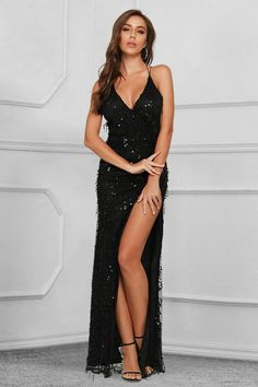 Elegant V-Neck Sleeveless Sequins Tassel Prom Dress Long With Split Affordable Prom Dresses, Prom Dresses Online, Homecoming Dresses, Evening Gowns Online, Evening Dresses, Brunette Girl, All Fashion, Latest Fashion, Sexy Legs