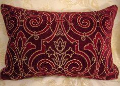 Custom Designer Throw pillows 2 Scalamandre Chatelaine Linen Velvet Burgundy Bolster 24 x 15 in RARE by Cabin Cove Creations
