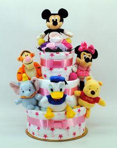 Newborn Disney friends 3 layer nappy cake Girl