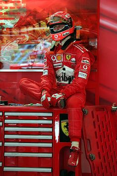 Michael Schumacher of Germany in the pits during the Practice session prior to Qualifying for the Formula One Chinese Grand Prix at Shanghai. Michael Schumacher, Mick Schumacher, Formula 1 Car Racing, Track Pictures, Chinese Grand Prix, Ferrari F1, F1 Racing, Drag Racing, F1 Drivers