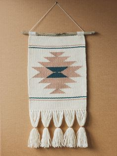 *** READY TO SHIP ***  This hand woven wall hanging is handmade using cotton, acrylic and wool threads with a driftwood as a supporting rod. Some details