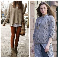 New street style: Chunky doesn't have to mean frumpy! To rock your chunky knits while still looking chic, pair with slim-fit pants and sleek ankle boots! Pattern (right) is the Belvedere Castle Pullover in LENA & CELINE from Stacy Charles Fine Yarns. (Inspiration photo, left, from fashforfashion,com)