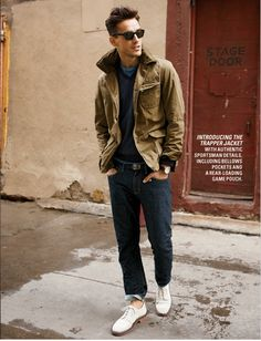 Trapper Jacket. Liking the outfit though the shoes should be converse or vans or even boat shoes. Jeans need to be longer