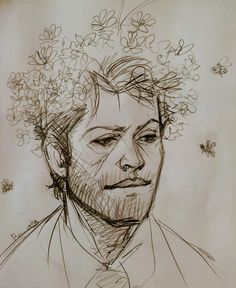 Supernatural Cartoon, Supernatural Drawings, Supernatural Fan Art, Castiel, Cool Drawings, Drawing Sketches, Art Memes, Cartoon Images, Drawing Reference