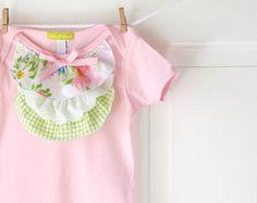 Pink Ruffle Onesie- Pastels on White Vintage Floral-  6m 12m 18m- Baby Shower Gift- Children Spring Fashion- Ecofriendly. $26.00, via Etsy.
