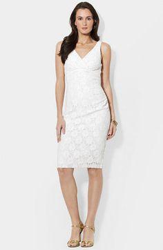 ShopStyle: Lauren by Ralph Lauren Surplice Lace Sheath Dress