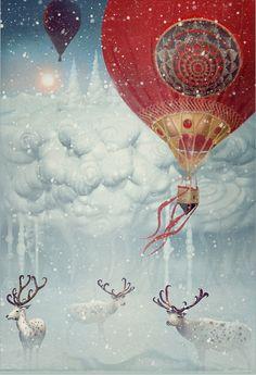 Magical illustration by Tatiana Kazakova, Hot Air Balloons Art And Illustration, Christmas Illustration, Illustrations Posters, Fantasy Kunst, Fantasy Art, Art Carte, Art Design, Christmas Art, Christmas Balloons