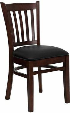 HERCULES Mahogany Vertical Slat Back Wooden Restaurant Chair - Black Vinyl Seat - click to enlarge