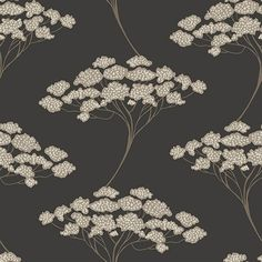 Banyan Black Tree   Embrace the beauty of the natural world with this black wallpaper. The bold tree design pops against the dark background in a taupe and gold. Tiny flower buds dot the canopy of the tree in a hand painted splendor