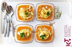 Zupa krem z ciecierzycy z makaronem Chickpea Soup, Noodle Soup, Stew, Soup Recipes, Cantaloupe, Noodles, Meat, Chicken, Fruit