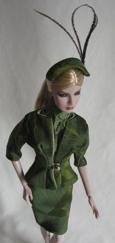 Agnes (Fashion Royalty) modeling an abstract olive green brocade suit.