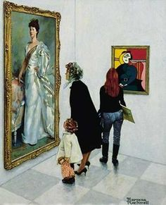 Noman Rockwells Picasso vs Sargent - I did a double-take seeing the modern-day outfit on the girl looking at the Picasso. This was painted in 1966; her outfit is timeless.