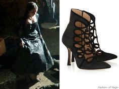 """the CW's Reign Fashion & Style In the new installment of """"Reign Shoes: You'll Have to Just Take My Word for It """" Mary, Queen of Scotland and France wears these Oscar de la Renta Empire Cutout Suede Ankle Boots. Worn with a Reign Costumes custom gown, Paris by Debra Moreland tiara, Isabel Marant earrings, Gillian Steinhardt labyrinth and signet rings."""