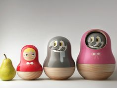 Little Red Riding Hood nesting dolls designed by Taiwan-based Mike He as food containers