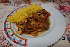 LA VERA  IN BUCATARIE: Limba de porc cu ciuperci si rosii Tacos, Rice, Chicken, Meat, Ethnic Recipes, Food, Eten, Meals, Cubs
