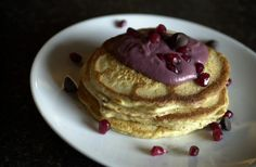 Chocolate pomegranate pancakes--good, and good for you.