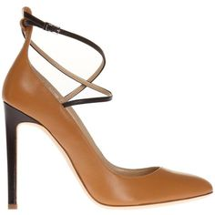 Brown and black pumps from Giuseppe Zanotti. Made of smooth leather. Strap with a buckle fastening. Round toe. Light beige leather sole.