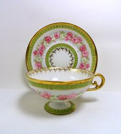 JP Limoges France Teacup and Saucer, Light Green with Pink Roses Gold Trim, Circa 1900.
