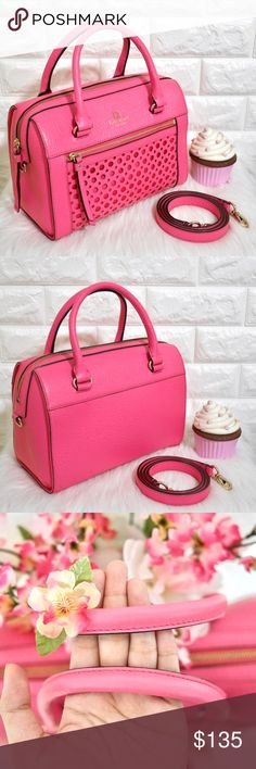 """💖Kate Spade Delaney Perri Lane NWOT.  Color: Cabaret Pink Material: Pebbled Leather  Dimension: 10.75L x 8H x 6D Strap drop: 19""""  Price is firm. No trades. Cheaper on Merc. kate spade Bags Satchels"""