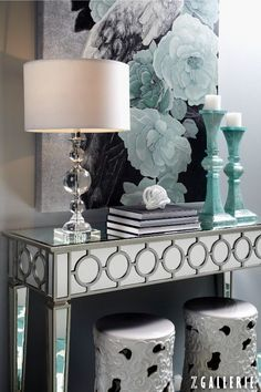 Glamorous entry with a mirrored console table, crystal lamp, and aqua accents. Somebody stole my idea! Foyer Decorating, Interior Decorating, Interior Design, Decorating Ideas, Interior Ideas, Mirrored Furniture, Mirrored Table, Teal Furniture, Stylish Home Decor